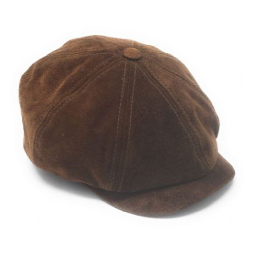 Dark Brown Suede Baker Boy Cap Small